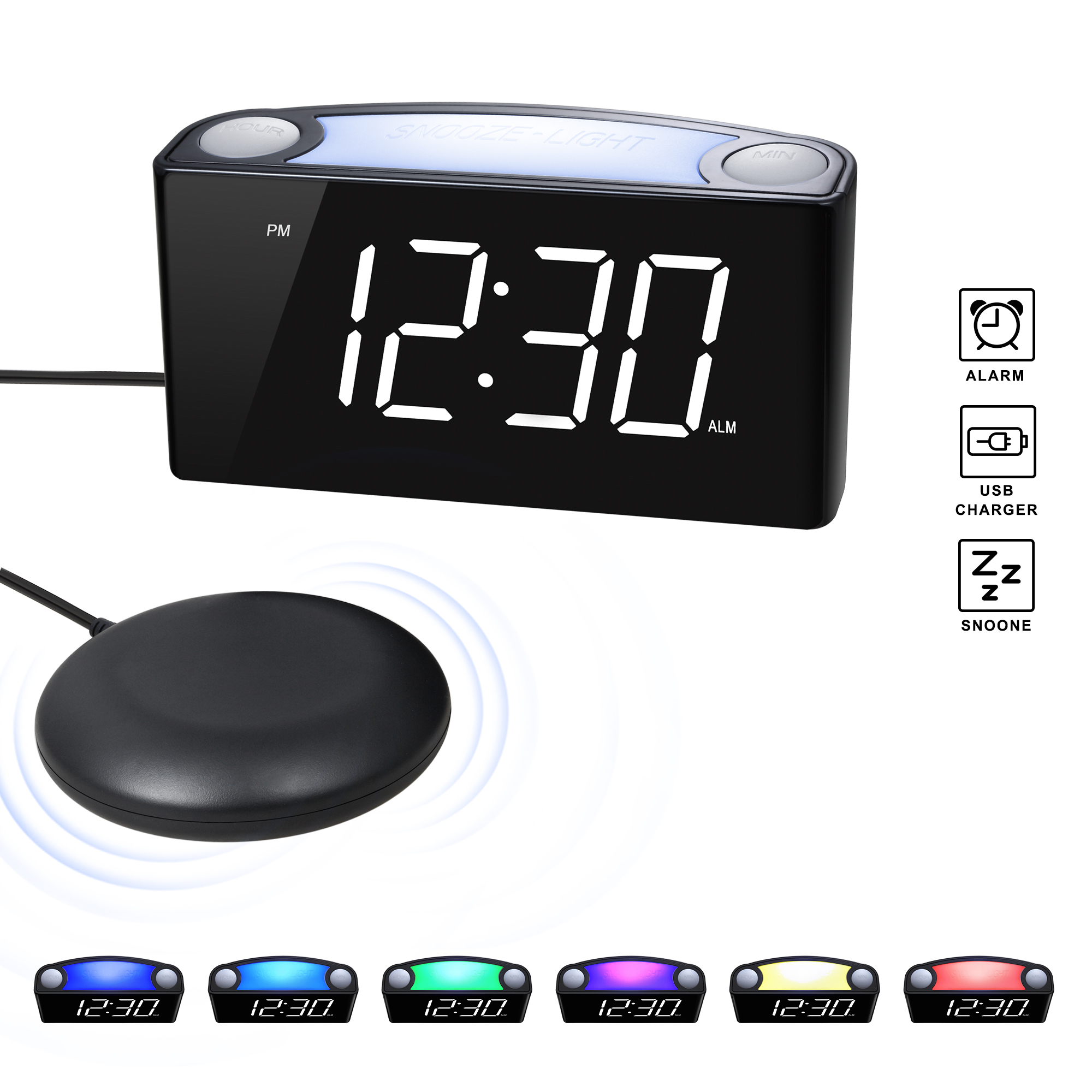 ROCAM Loud Vibrating Alarm Clock with Bed Shaker
