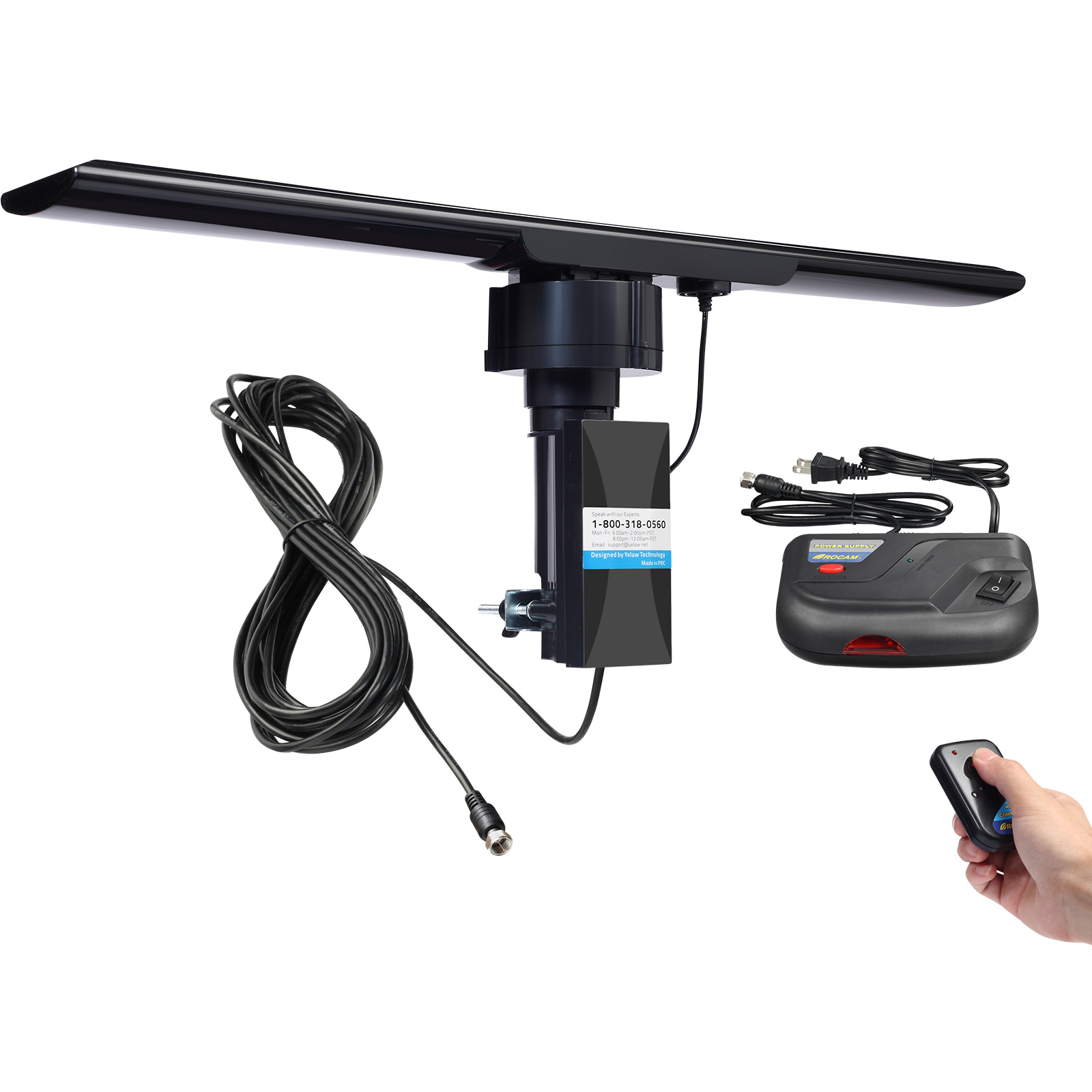 Amplified HDTV Outdoor Antenna 150 Miles Long Range and 360